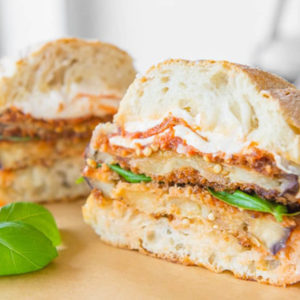 "Served with our own marinara sauce topped with mozzarella cheese. On 8"" ciabatta bread. Grilled eggplant."