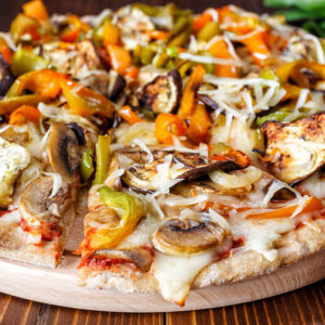 All grilled eggplant, zucchini, mushroom, bell pepper, broccoli, tomato, red onion and mozzarella cheese. Any specialty pizza can be made cheese less.