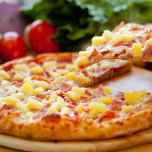 Red sauce, bacon, ham, pineapple and mozzarella cheese. Any specialty pizza can be made cheese less.